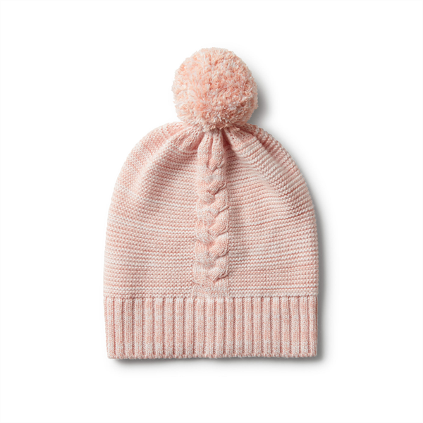 Wilson & Frenchy Cable Knit Hat with Pom Pom - Strawberry & Cream