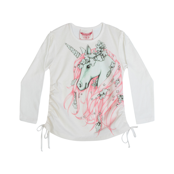 Paper Wings Drawstring T-Shirt - Winter Unicorn