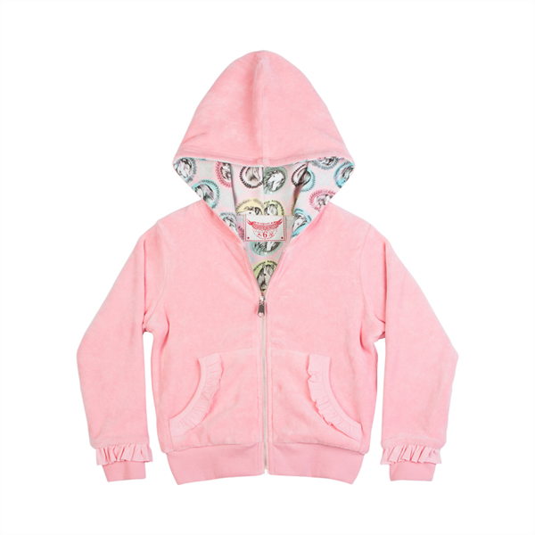 Paper Wings Frilled Reversible Hoodie - Horse Cameo