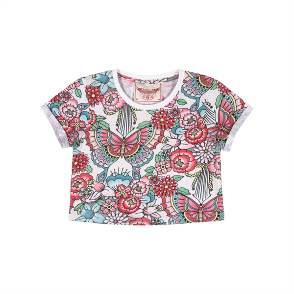Paper Wings Tattoo Flowers Cropped T-Shirt