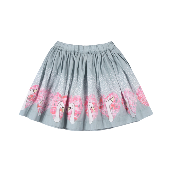 Paper Wings Heart Swans Gathered Skirt