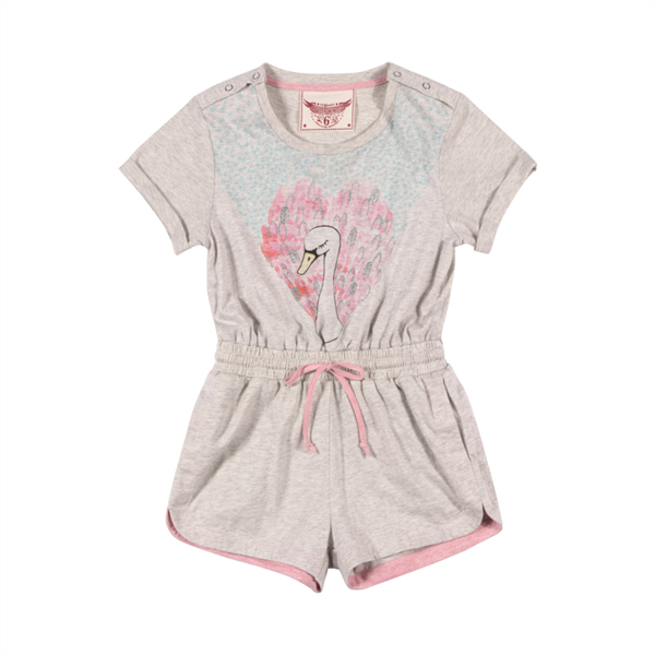 Paper Wings Heart Swan Romper with Cuffs
