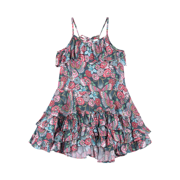 Paper Wings Tattoo Flowers Frilled Dress with Ties