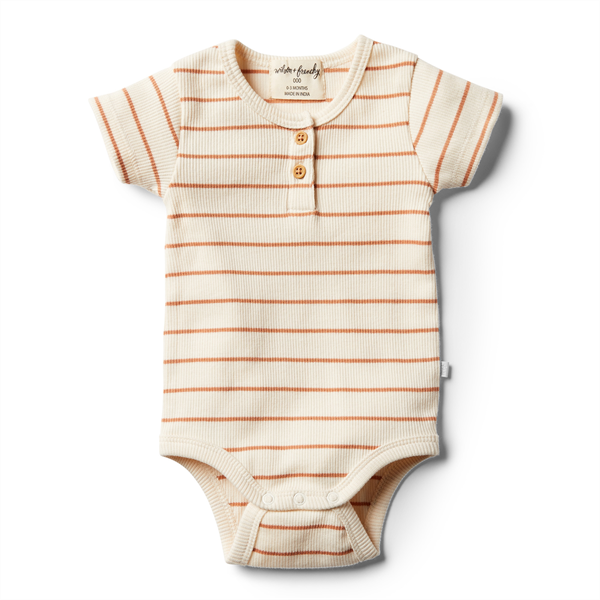 Wilson & Frenchy Organic Toasted Nut Stripe Bodysuit